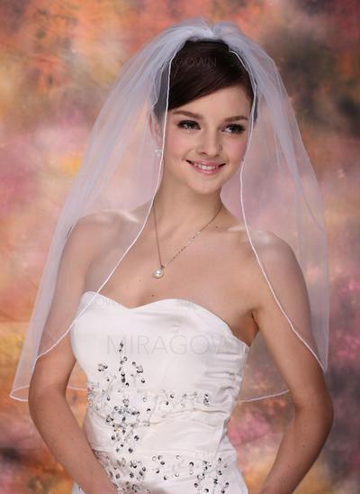 Voile de mariée longueur coude Tulle 1 couche Ovale avec Liseret Voiles de mariage (006003760)