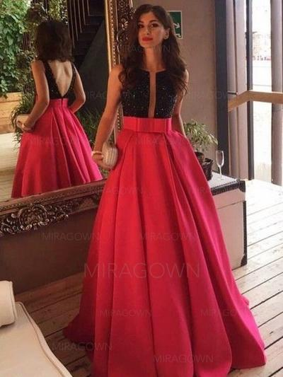 f163d084c9 Corte A Princesa Satén Vestidos de noche Lentejuelas Lazo(s) Escote en V