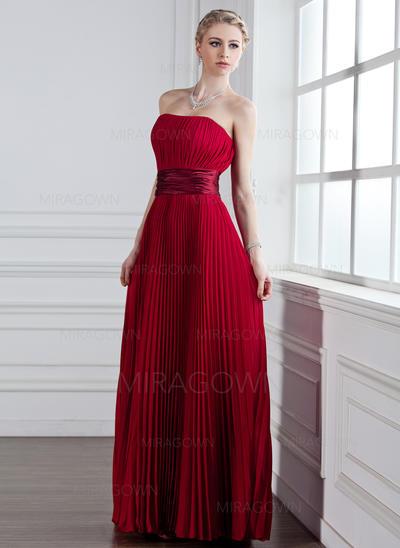 Luxueux Mousseline Robes demoiselle d'honneur Forme Princesse Longueur ras du sol Amoureux Sans manches (007001831)
