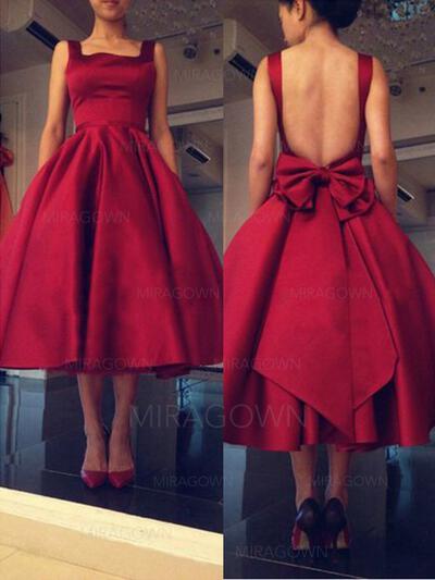Simple Robes de cocktail Longueur mollet Sans manches Forme Princesse Encolure carrée (016145288)
