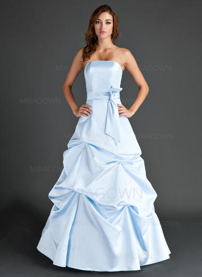 Forme Princesse Satiné Robes demoiselle d'honneur Plissé Sans bretelle Sans manches Longueur ras du sol (007004007)