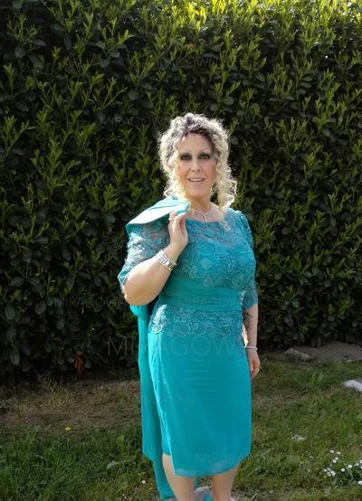 9954716273d0 A-Line Princess Scoop Neck Knee-Length Chiffon Mother of the Bride Dresses  ...
