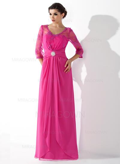 A-formet/Prinsesse Chiffong Halvlang V-hals Gulvlengde Glidlås Kjoler til Brudens Mor (008005687)