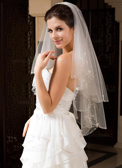 Voile de mariée longueur coude Tulle 2 couches Style Classique avec Bord perlé Voiles de mariage (006034328)