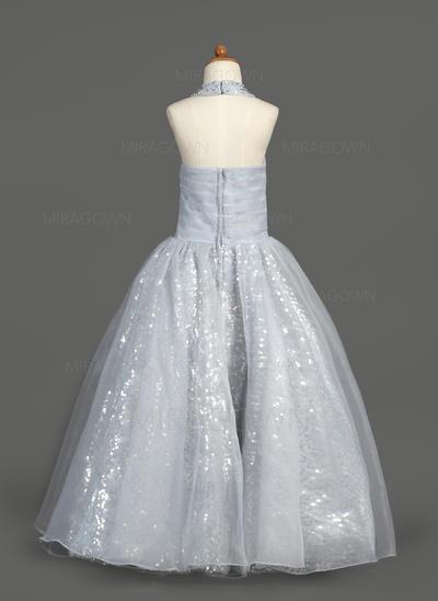 Chic Dos nu Forme Princesse Robes de demoiselle d'honneur - fillette Longueur ras du sol Organza/Pailleté Sans manches (010007389)