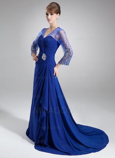 A-formet/Prinsesse Chiffong 3/4 ermer V-hals Bane-tog Glidlås Kjoler til Brudens Mor (008006176)