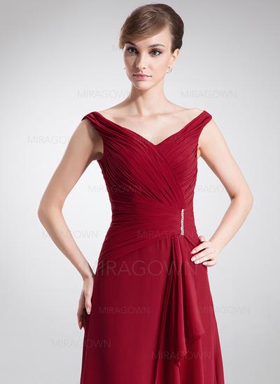 A-formet/Prinsesse Chiffong Uten Ermer Off-the-Shoulder Gulvlengde Glidlås Kjoler til Brudens Mor (008005640)