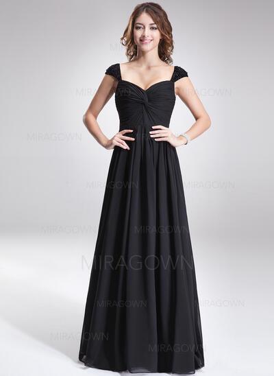 Forme Princesse Amoureux Longueur ras du sol Mousseline Robe de demoiselle d'honneur avec Plissé Brodé Paillettes (007016866)