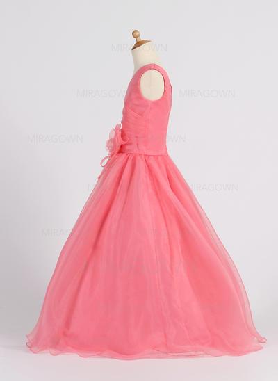 Forme Princesse Longueur ras du sol Robes à Fleurs pour Filles - Organza Sans manches Col V avec Fleur(s) (010007398)