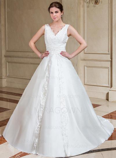 Forme Princesse Taffeta Sans manches Chérie Traîne mi-longue Bretelles classiques Robes de mariée (002001221)