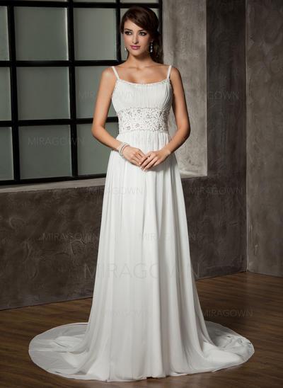 Forme Princesse Mousseline de soie Sans manches Chérie Traîne mi-longue Bretelles spaghetti Robes de mariée (002196842)