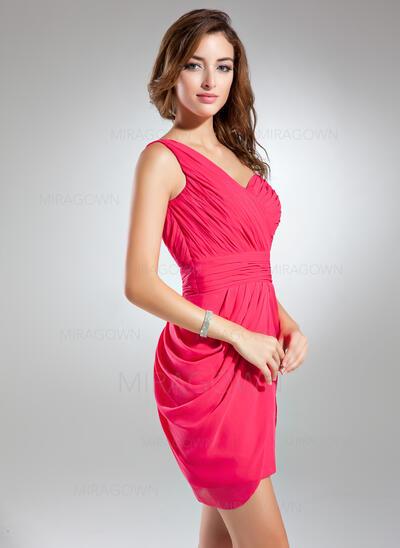 Forme Fourreau Encolure asymétrique Court/Mini Mousseline Robe de demoiselle d'honneur avec Plissé (007024296)