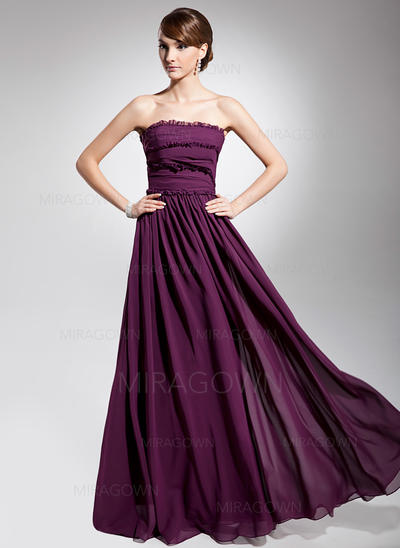 Forme Princesse Mousseline Robes de soirée Plissé Sans bretelle Sans manches Longueur ras du sol (017014692)