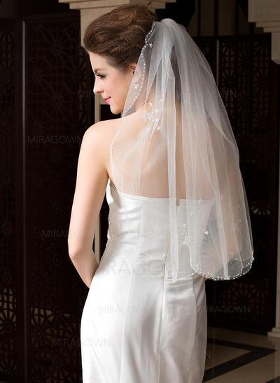 Voile de mariée longueur coude Tulle 1 couche Ovale/Mantilla avec Bord perlé Voiles de mariage (006036605)