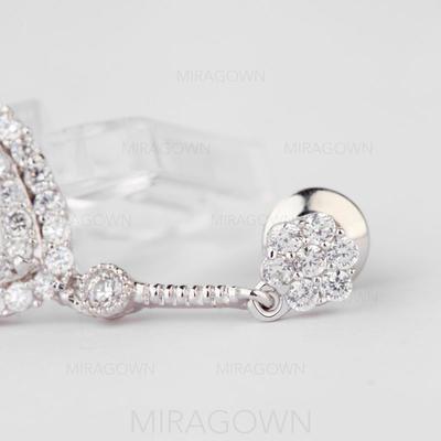 Boucles d'oreilles Zircon de/Platine plaqué Percées Dames Unique Mariage & Bijoux de Soirée (011057432)