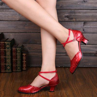 Femmes Salle de bal Escarpins Similicuir avec Lanière de cheville Chaussures de danse (053113217)