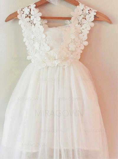 Le plus récent Encolure carrée Forme Princesse Robes de demoiselle d'honneur - fillette Longueur genou Mousseline de soie Sans manches (010146808)
