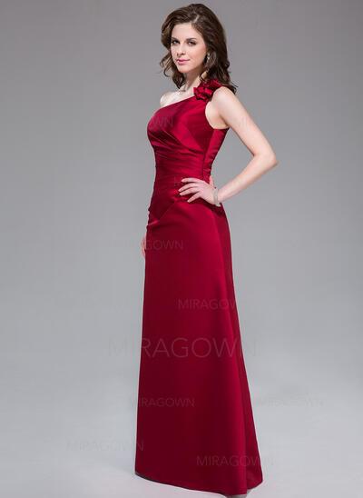Forme Princesse Encolure asymétrique Longueur ras du sol Satiné Robe de demoiselle d'honneur avec Plissé Fleur(s) (007037245)