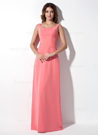 Moderne Robes demoiselle d'honneur Forme Princesse Longueur ras du sol Col rond Sans manches (007001873)