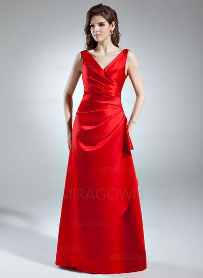Forme Princesse Col V Longueur ras du sol Satiné Robe de demoiselle d'honneur avec Plissé (007004570)