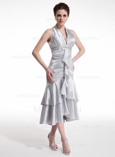 A-formet/Prinsesse Grime Te-lengde Charmeuse Cocktailkjoler med Profilering Brusende Volanger (016021207)