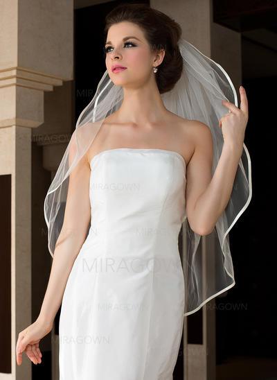 Voile de mariée longueur bout des doigts Tulle 2 couches Ovale avec Bord en ruban Voiles de mariage (006036611)