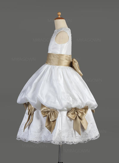 Sublime Col rond Robe Empire Robes de demoiselle d'honneur - fillette Longueur mollet Satiné Sans manches (010014610)
