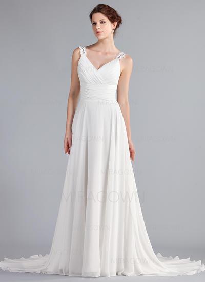 Forme Princesse Mousseline de soie Sans manches Chérie Traîne moyenne Bretelles classiques Robes de mariée (002196853)
