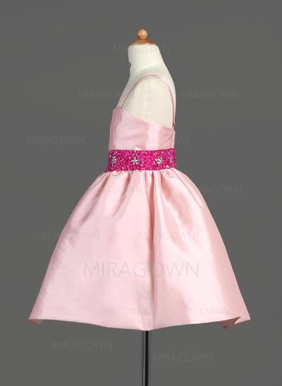 Luxueux Bretelles Forme Princesse Robes de demoiselle d'honneur - fillette Longueur genou Taffeta Sans manches (010007565)
