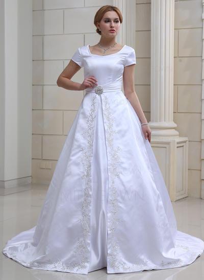 Robe Marquise Satiné Manches courtes Chérie Traîne mi-longue Manches Robes de mariée (002001632)
