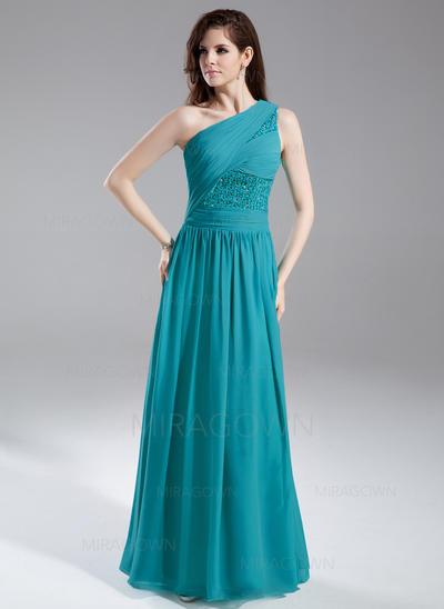 Forme Princesse Mousseline Robes de soirée Plissé Brodé Paillettes Seule-épaule Sans manches Longueur ras du sol (017015857)