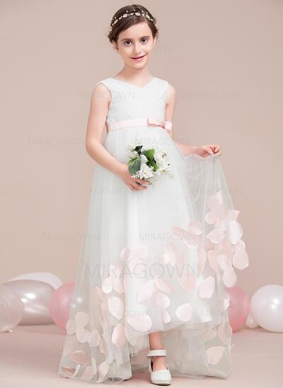 Forme Princesse Asymétrique Robes à Fleurs pour Filles - Tulle Sans manches Col V avec Plissé/Motifs appliqués Dentelle/À ruban(s) (010115810)