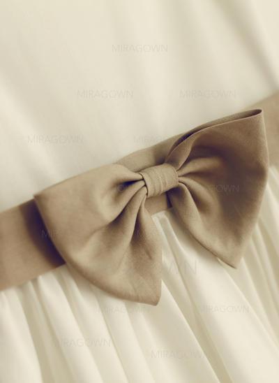Chic Col rond Forme Princesse Robes de demoiselle d'honneur - fillette Longueur genou Coton Sans manches (010196738)