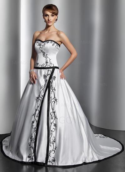 Robe Marquise Satiné Sans manches Chérie Traîne mi-longue Sans bretelle Robes de mariée (002196888)