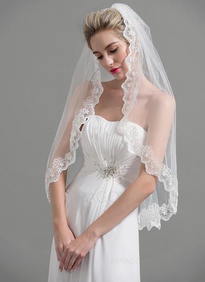 Voile de mariée longueur bout des doigts Tulle 1 couche Style Classique/Ovale avec Bord en dentelle Voiles de mariage (006095193)