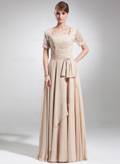 Forme Princesse Mousseline Manches courtes Encolure carrée Longueur ras du sol Fermeture éclair Robes mère de la mariée (008006154)