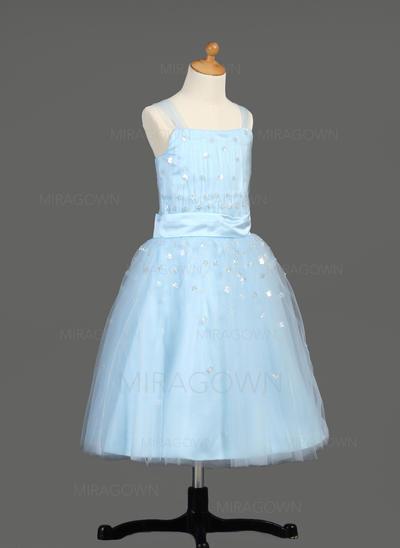 Sans manches Robes de demoiselle d'honneur - fillette Plissé/Paillettes Sans manches Longueur mollet Forme Princesse (010005913)