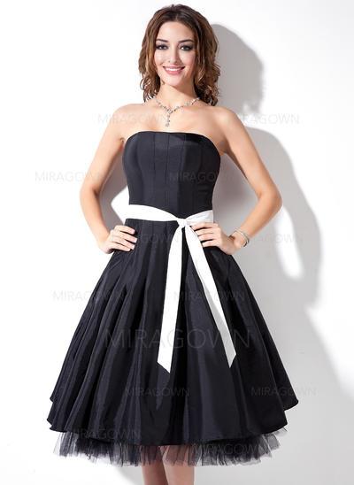 Forme Princesse Taffeta Robes demoiselle d'honneur Ceintures Sans bretelle Sans manches Longueur genou (007001736)