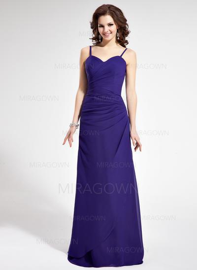 Magnifique Mousseline Robes demoiselle d'honneur Forme Fourreau Longueur ras du sol Amoureux Sans manches (007021815)