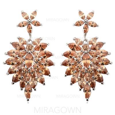 """Boucles d'oreilles Zircon de/Platine plaqué Percées Style Vintage 1.81""""(Approximative 4.6cm) Mariage & Bijoux de Soirée (011055201)"""