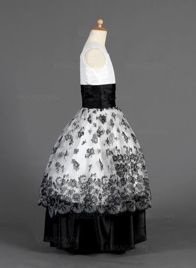 Chic Col rond Robe Marquise Robes de demoiselle d'honneur - fillette Longueur ras du sol Organza/Charmeuse Sans manches (010014627)