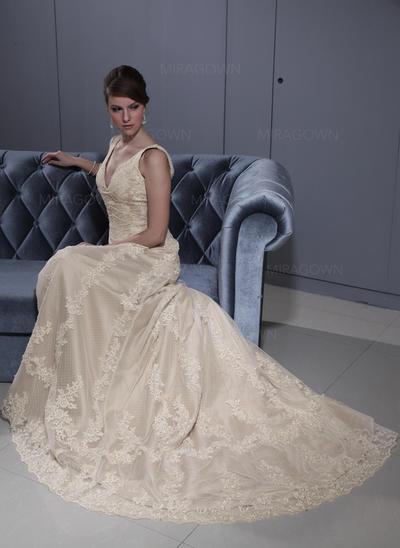 Forme Princesse Tulle Sans manches Chérie Traîne moyenne Bretelles classiques Robes de mariée (002196879)