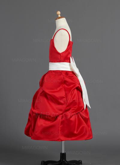 Raffiné Forme Princesse Robes de demoiselle d'honneur - fillette Longueur mollet Satiné Sans manches (010014594)