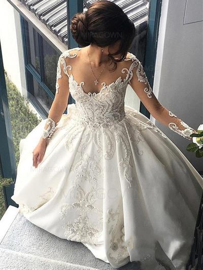 Robe Marquise Satiné Longues manches Encolure dégagée Traîne mi-longue Robes de mariée (002147841)