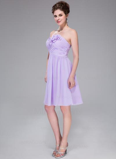 Flatteur Mousseline Robes demoiselle d'honneur Forme Princesse Longueur genou Amoureux Sans manches (007037325)
