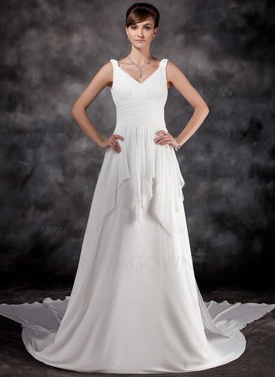 Forme Princesse Mousseline de soie Sans manches Chérie Traîne watteau Bretelles classiques Robes de mariée (002000565)