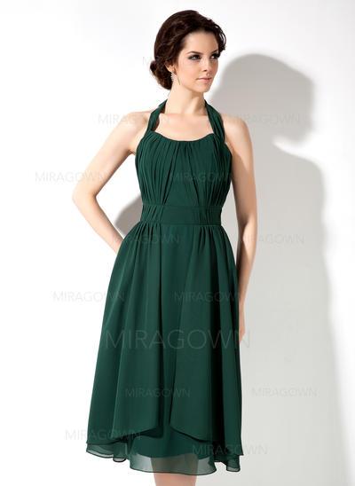 Forme Princesse Mousseline Robes demoiselle d'honneur Plissé À ruban(s) Dos nu Sans manches Longueur genou (007001892)