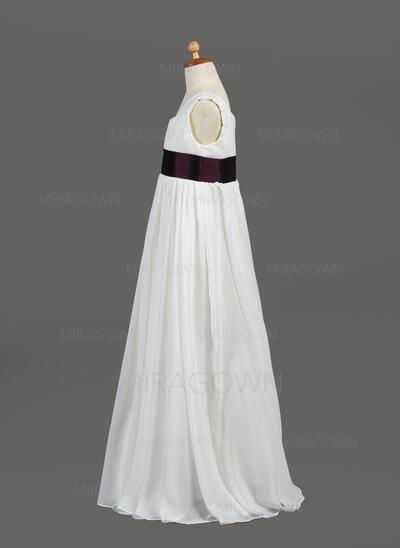 Le plus récent Col rond Robe Empire Robes de demoiselle d'honneur - fillette Longueur ras du sol Mousseline de soie/Taffeta Sans manches (010005914)