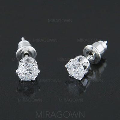 Boucles d'oreilles Alliage/Zircon de Percées Dames Brillant Mariage & Bijoux de Soirée (011129650)