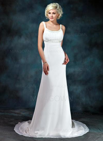 Robe Empire Mousseline de soie Sans manches Encolure dégagée Traîne moyenne Robes de mariée (002001673)